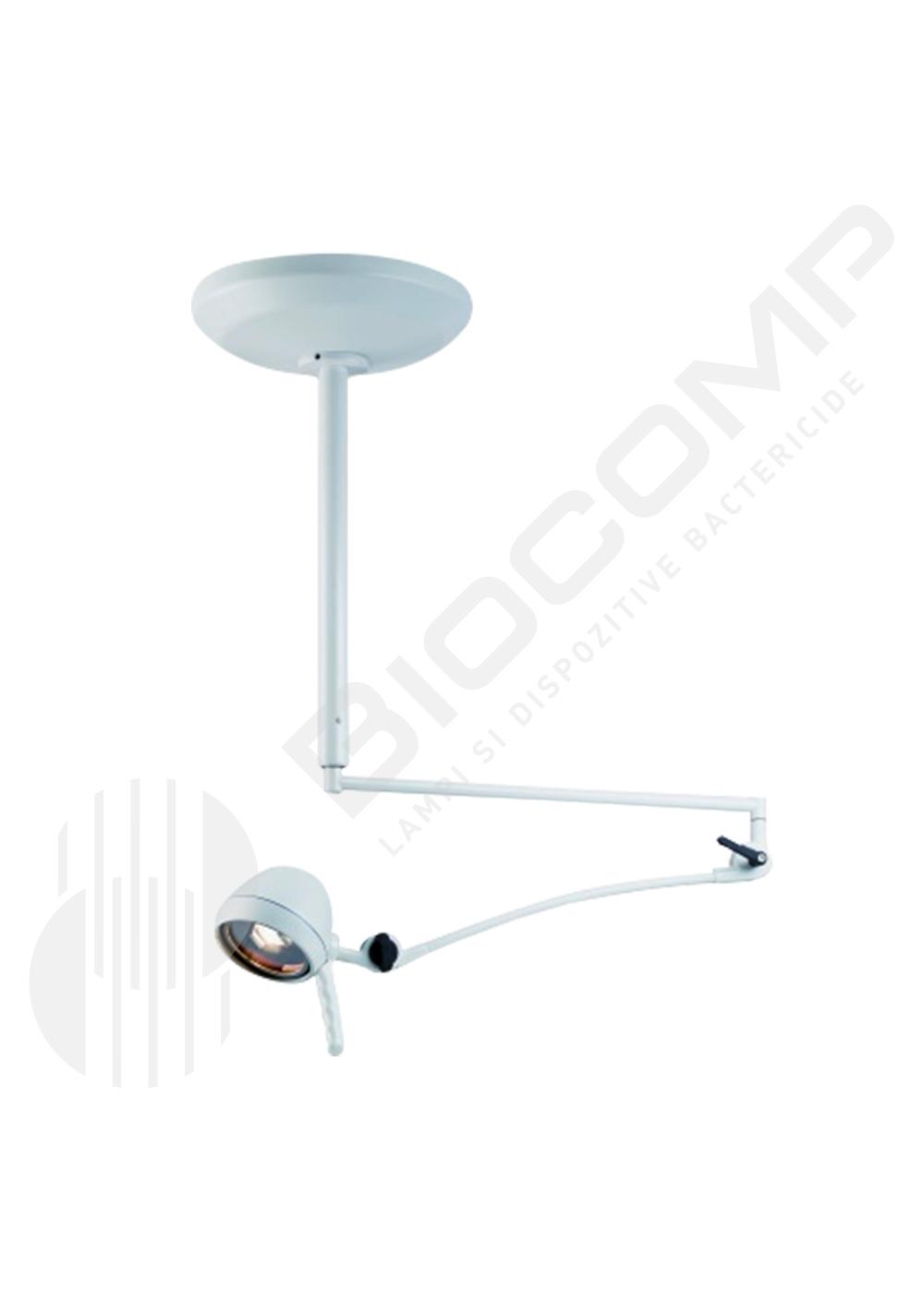 Lampa de examinare cu halogen, brat flexibil si montare pe tavan  - pentru camere de pana la 2,5 m inaltime