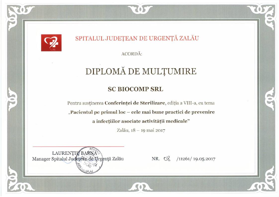 Diploma de multumire Spital Zalau