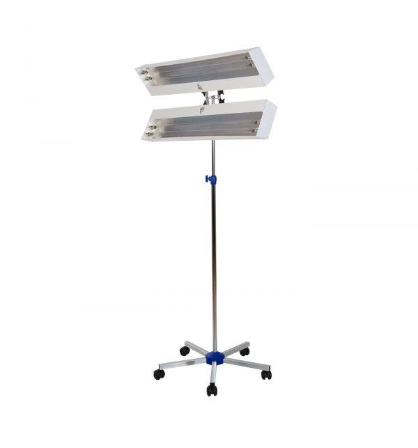 Lampa-dispozitiv de dezinfecție cu lumina ultravioleta UV-C LBA DUPLEX 4x15W, cu montare pe stativ mobil