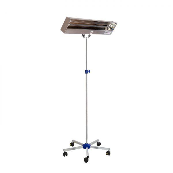 Lampa-dispozitiv de dezinfecție cu lumina ultravioleta UV-C LBAI 2x55W, din inox, cu montare pe stativ mobil